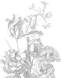 Behangpaneel Engraved Flowers - 142,5 x 180 cm - KEK Amsterdam