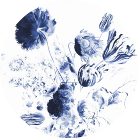 Behangcirkel Royal Blue Flowers - diameter 190 cm - KEK Amsterdam