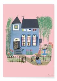 Kek Amsterdam - Poster Beer met het blauwe huis