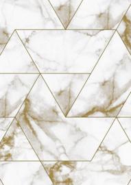 Kek Amsterdam - Behang Marble Mosaic Goud