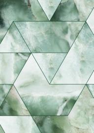 Kek Amsterdam - Behang Marble Mosaic Groen