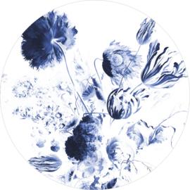 Behangcirkel Royal Blue Flowers - diameter 237,5 cm - KEK Amsterdam