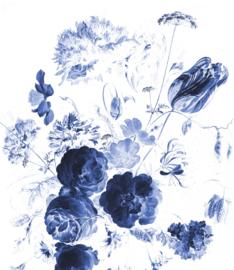 Behangpaneel Royal Blue Flowers - 190 x 220 cm - KEK Amsterdam