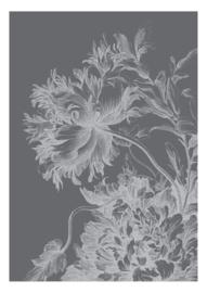 Fotobehang Engraved Flowers