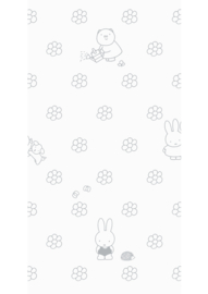 Kek Amsterdam - Behang Miffy Flowers Grey