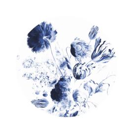 Behangcirkel Royal Blue Flowers - diameter 142,5 cm - KEK Amsterdam