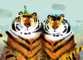 Kek Amsterdam Fotobehang Two Tigers