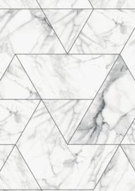 Kek Amsterdam - Behang Marble Mosaic Wit