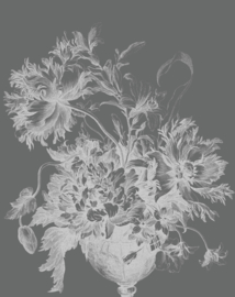 Behangpaneel Engraved Flowers