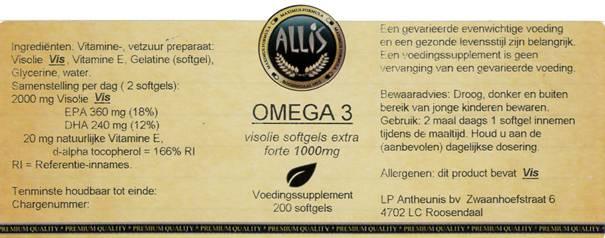 Omega 3  Visolie  EPA 18 % / DHA 12 %   200 capsules