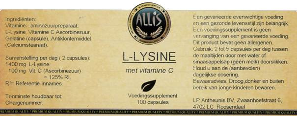 L-Lysine met Vitamine C  100 capsules