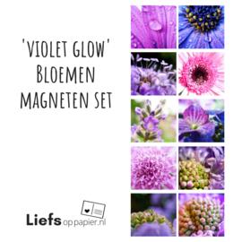 'Violet Glow' Bloemen magneten | set van 10