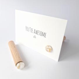 Kaartenhouder magneet | Orb wit met goud foil