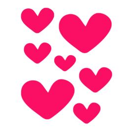 Stickers hartjes funky pink | 2 vellen