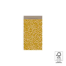 Inpakzakjes Sparkles geel/   per 10 stuks   7,5x13cm