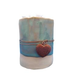 'Pluimpjes' vaasje | keramiek met blauw goudsteen (nr 16)