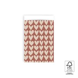 Inpakzakjes hartjes | roze/beige | per 5 stuks | 12x19cm