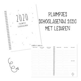 Pluimpjes agenda 2020 met data en lesuren 1 t/m 9 (start januari)
