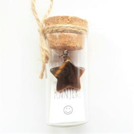 Flesje met Tijgeroog hangertje stervorm