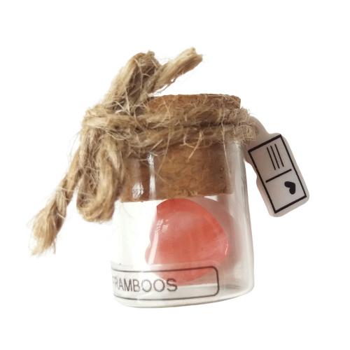 Flesje met mini edelstenen Framboos hartje (recht flesje 3cm hoog)