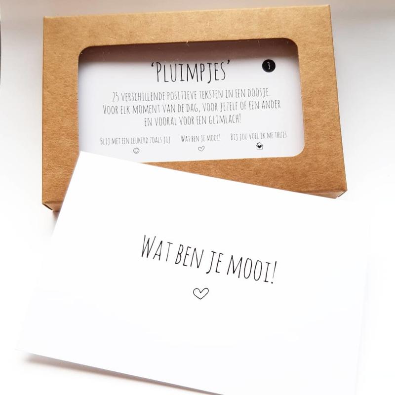 Pluimpjes set 3, 25 verschillende positieve teksten in een doosje (NL)