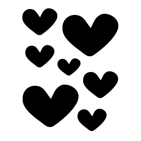 Stickers hartjes zwart | 2 vellen