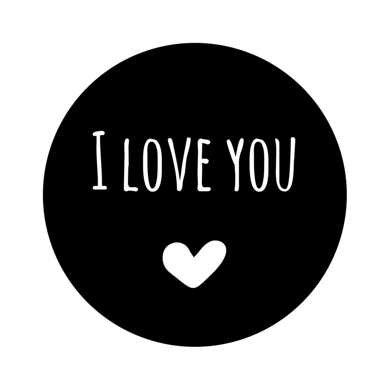I love you | statische (herbruikbare) sticker in Zwart