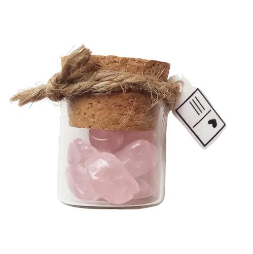 Flesje met mini rozenkwarts steentjes (recht flesje 3cm hoog)