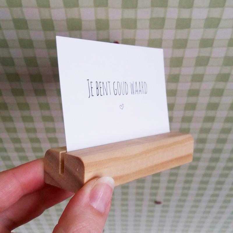 kaartenhouder hout, afgerond
