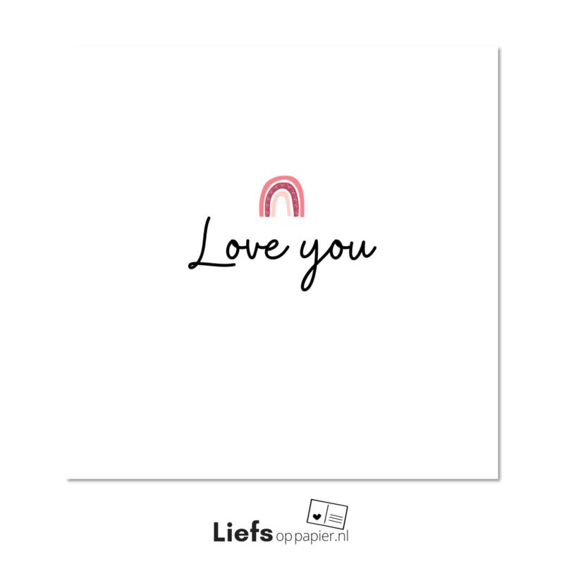 Love you  kaart met enveloppe