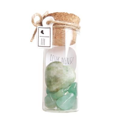 Flesje met Aventurijn edelsteentjes en hartje (2cm)