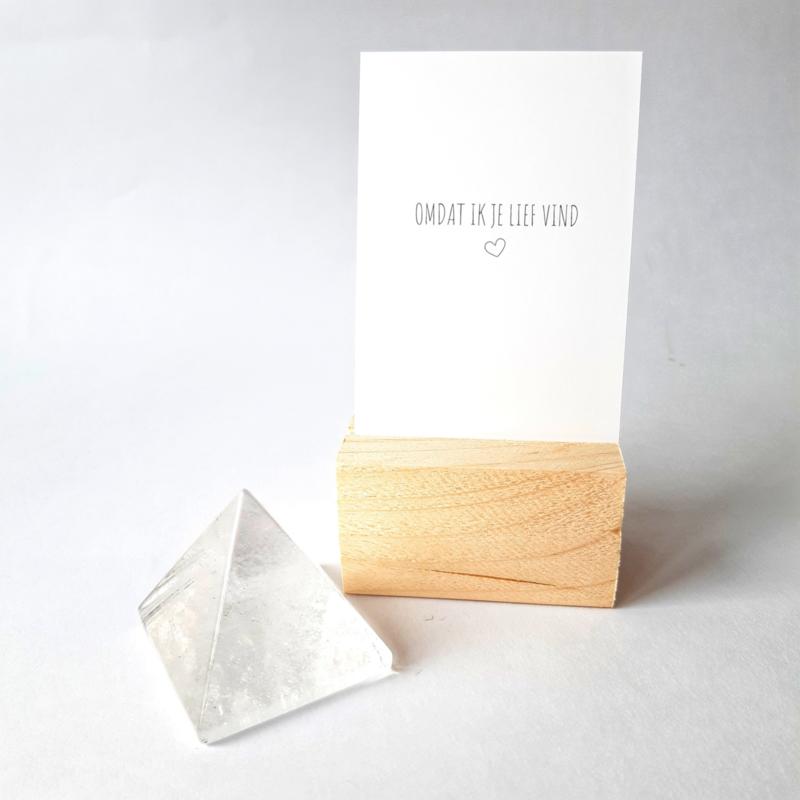 Bergkristal Piramide | kadokaartje en houder