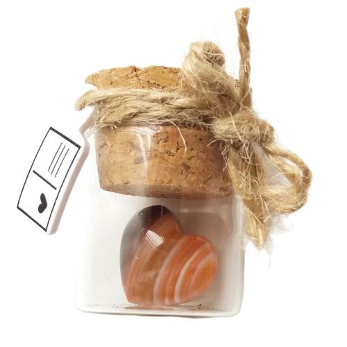 Flesje met mini edelstenen Agaat hartje (recht flesje 3cm hoog)