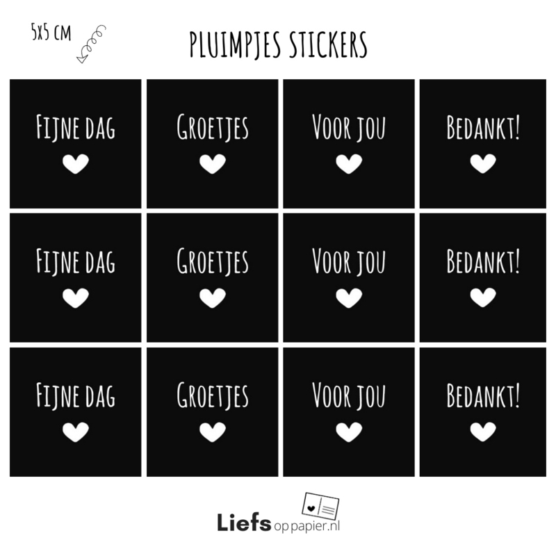 Pluimpjes stickers divers | 12 stuks