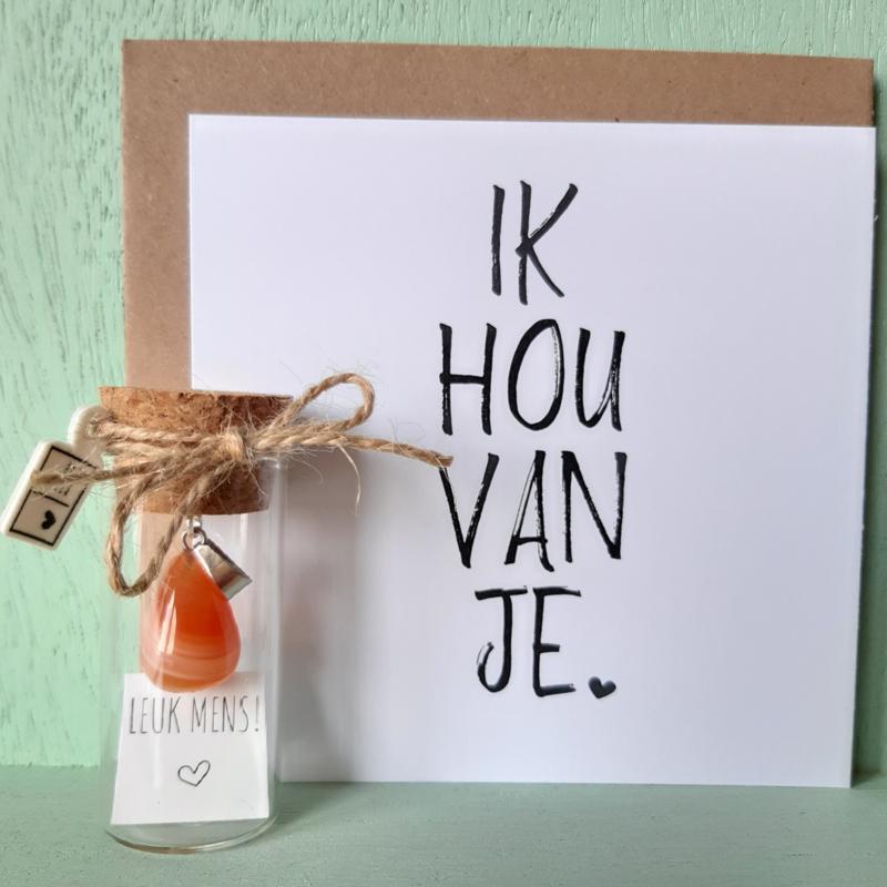 nr 4 | Pluimpje in flesje met agaat oranje hanger (1,5cm)