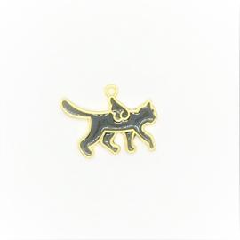 Kattenhangertje met vleugels goud/zwart