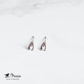 Studs-oorbellen giraffe zilver