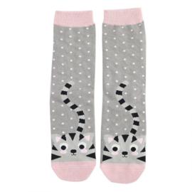 Damessokken Kitty & Spots (grijs)