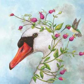 Servetten zwaan en kolibri
