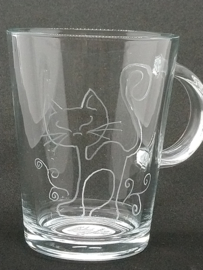 Gegraveerd theeglas kat (250ml)