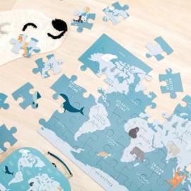 Puzzel in koffer 'Endangered Animals' (54 stukjes)