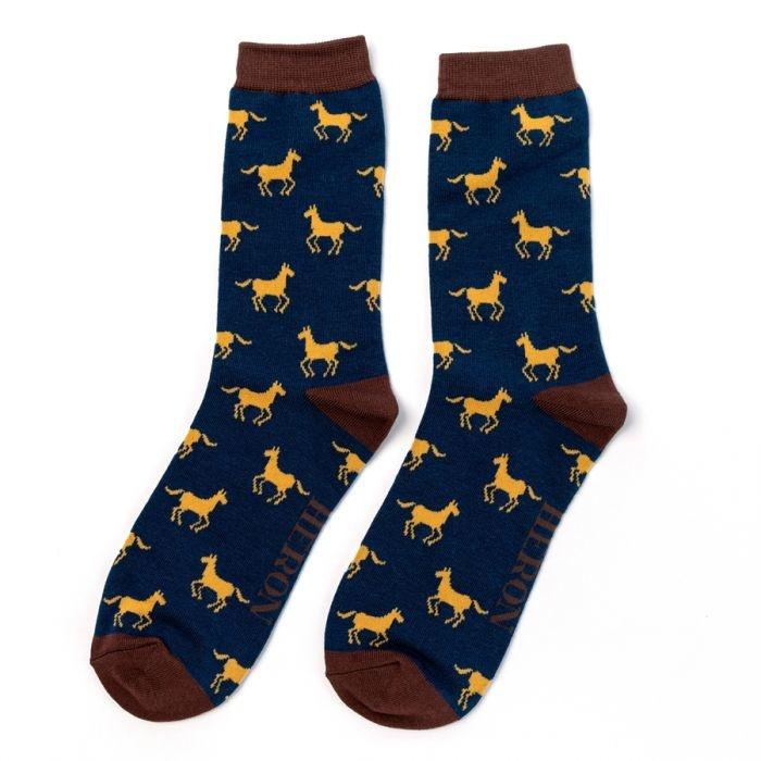 Herensokken Paard (donkerblauw)