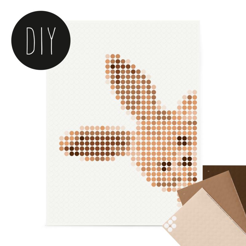 Dot on DIY stickerposter 'konijn' voor kinderen