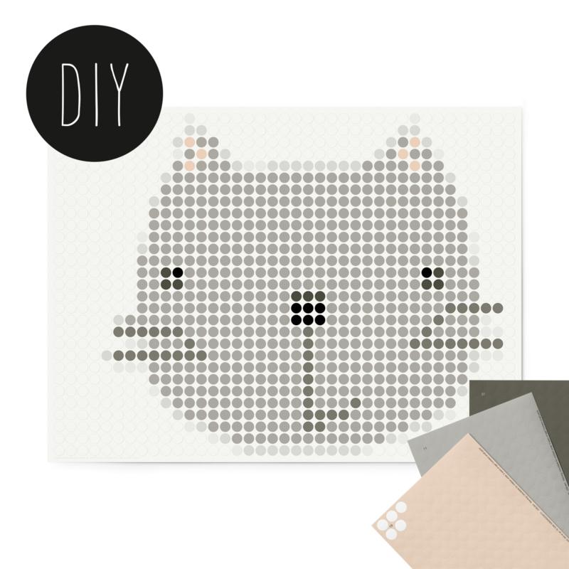 Dot on DIY stickerposter kat voor kinderen