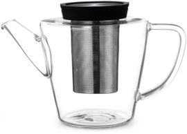 Theepot 'Infusion' - glas met filter 1,2 liter - Zwart - Viva Scandinavia