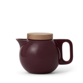 Theepot 'Jaimi' - porselein met filter 0,65 liter - Bordeaux rood & hout - Viva Scandinavia