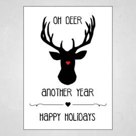 Kerstkaart - Oh deer, Another year