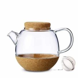 Theepot 'Cortica' - glas met filter 0,5 liter - Kurk - Viva Scandinavia