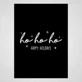 Kerstkaart - Ho ho ho, Happy holidays