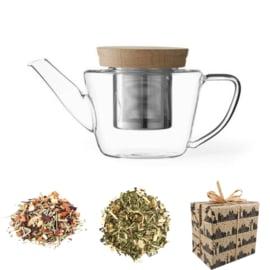 Sinterklaas Cadeau - Glazen theepot & 2 soorten kruiden thee